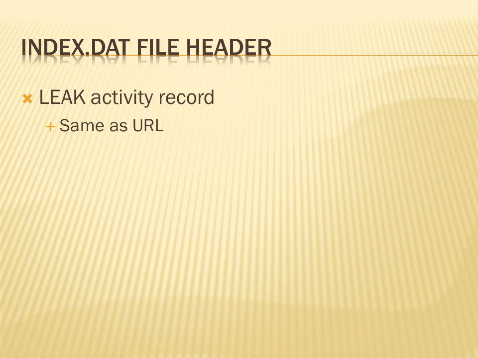 index.dat file header LEAK activity record Same as URL
