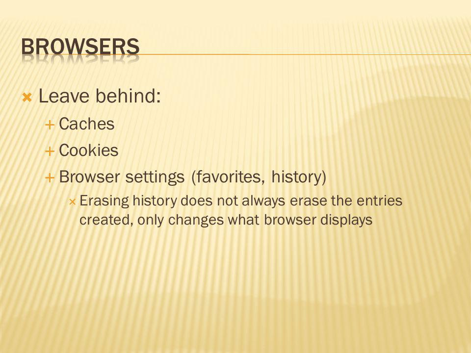 Browsers Leave behind: Caches Cookies
