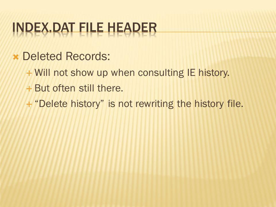 index.dat file header Deleted Records: