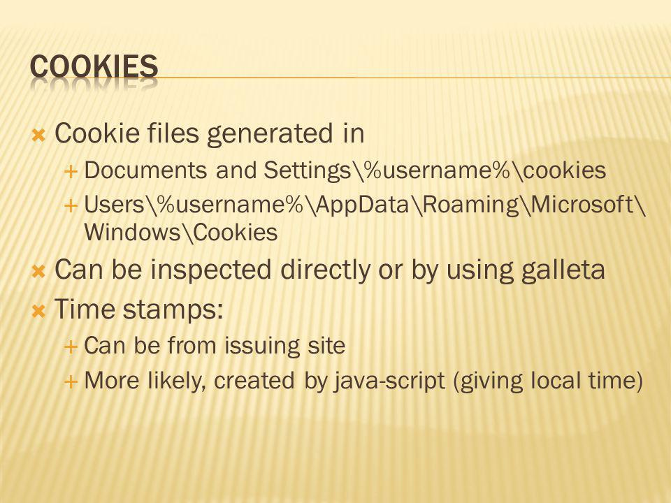 Cookies Cookie files generated in