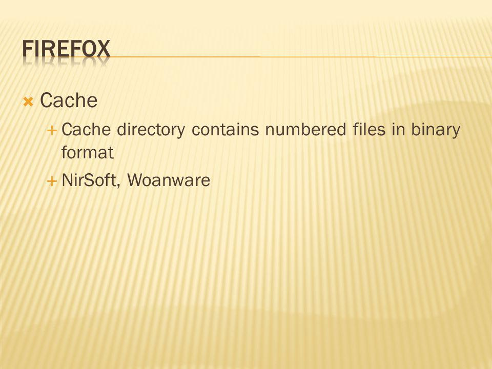 Firefox Cache Cache directory contains numbered files in binary format