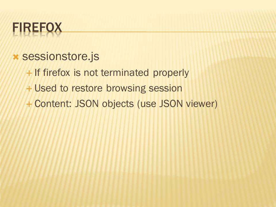 Firefox sessionstore.js If firefox is not terminated properly