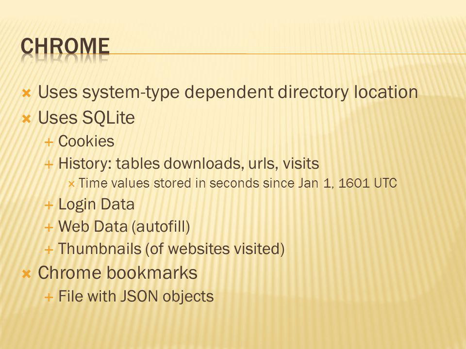 Chrome Uses system-type dependent directory location Uses SQLite