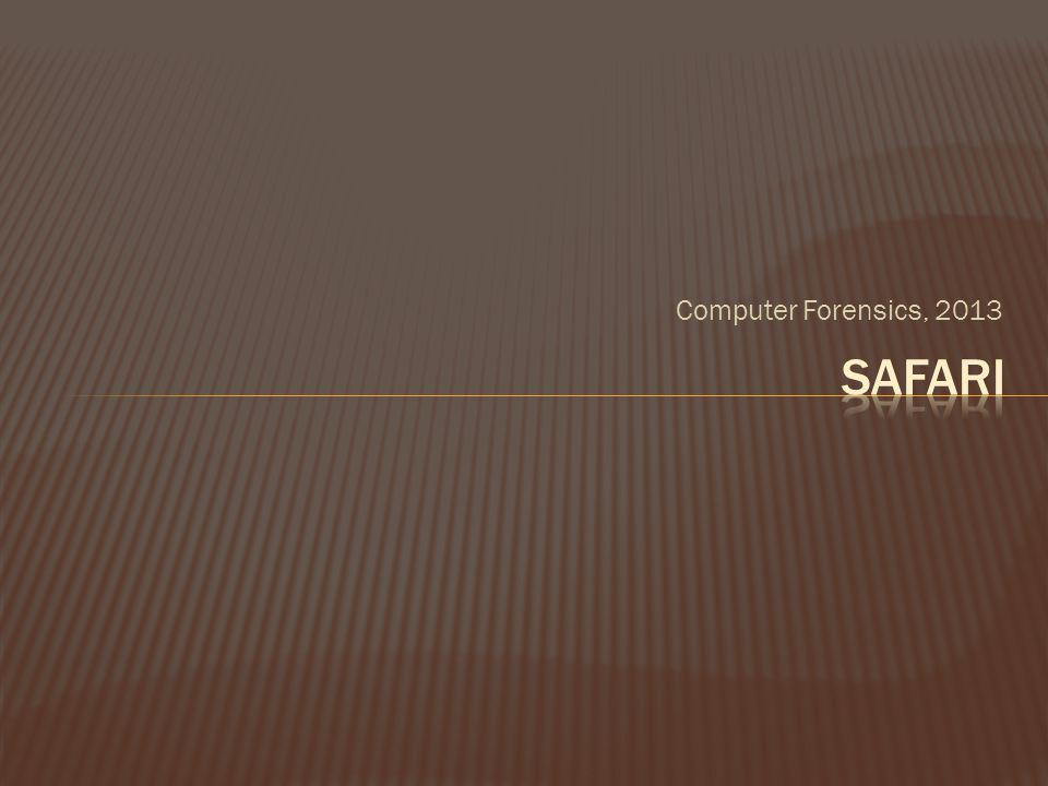 Computer Forensics, 2013 Safari