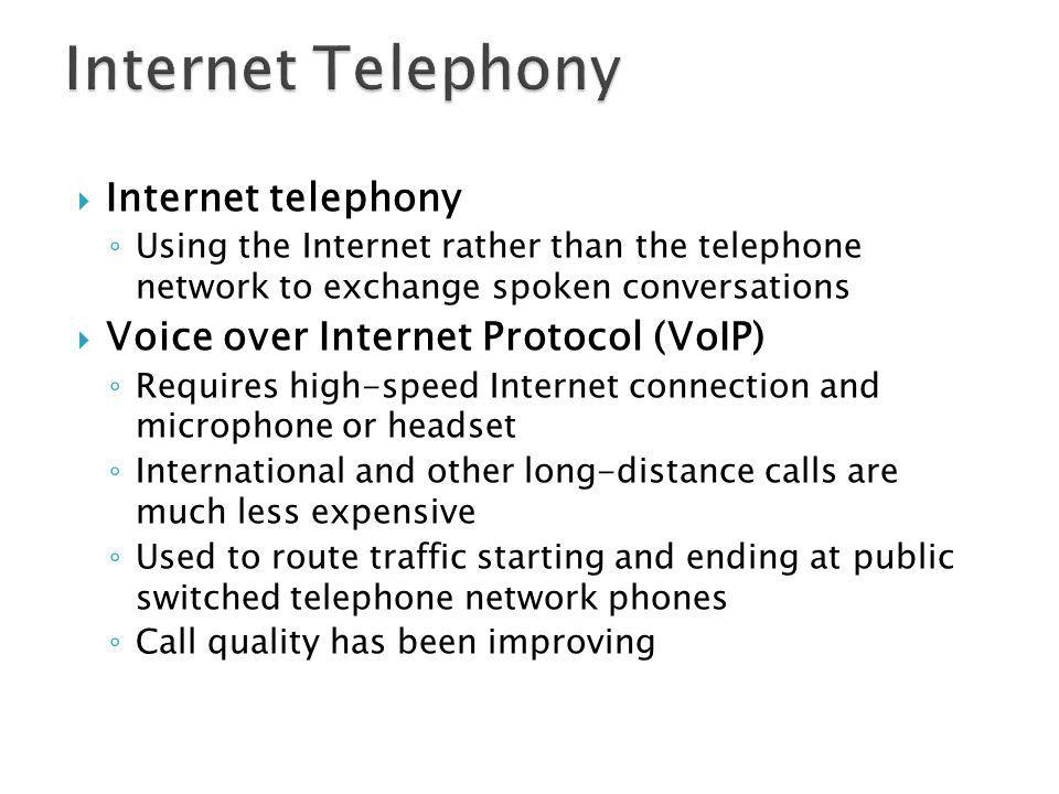Internet Telephony Internet telephony
