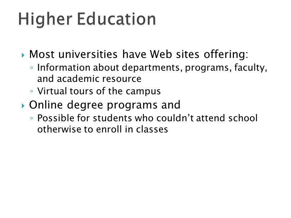 Higher Education Most universities have Web sites offering: