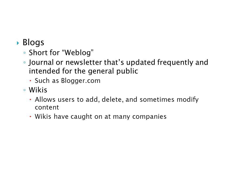 Blogs Short for Weblog