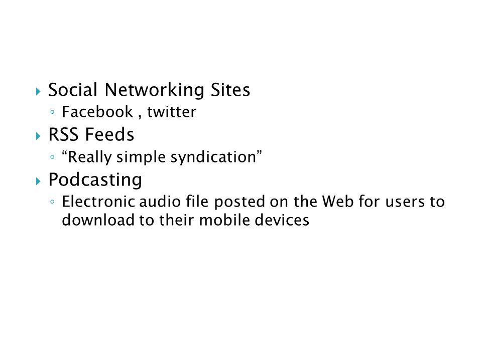 Social Networking Sites RSS Feeds Podcasting