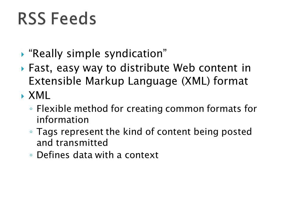 RSS Feeds Really simple syndication