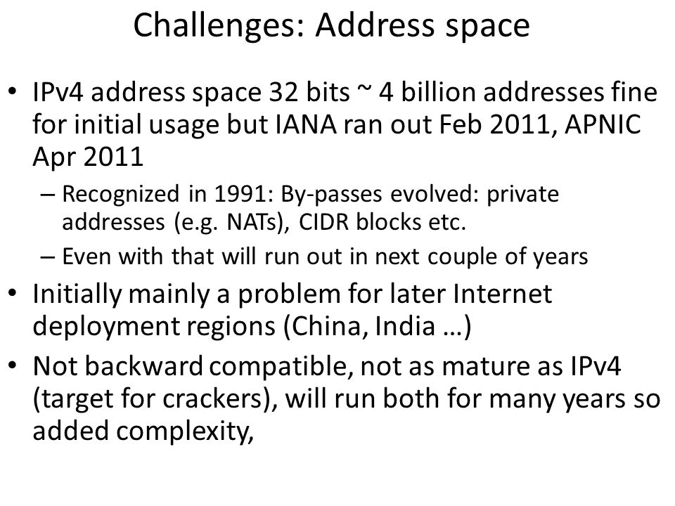 Challenges: Address space
