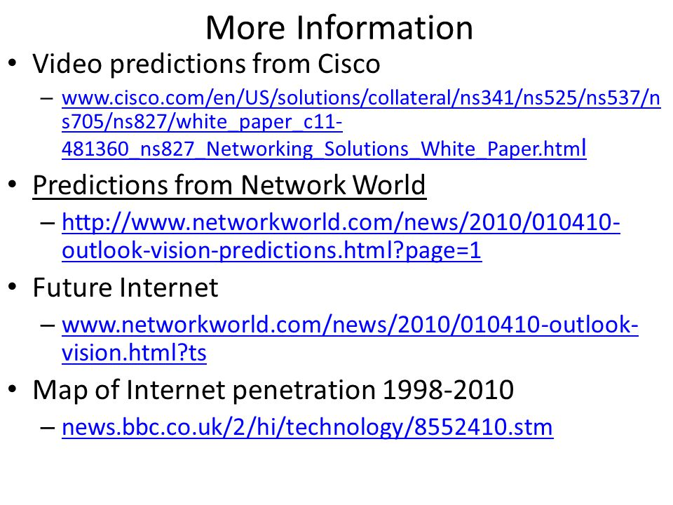 More Information Video predictions from Cisco