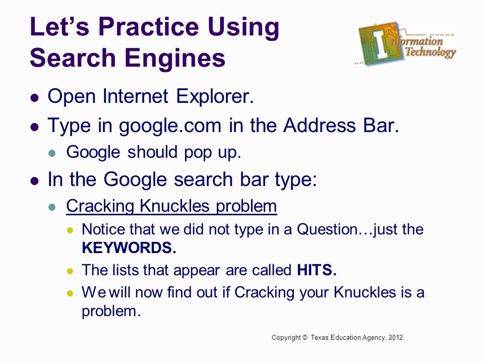 Let's Practice Using Search Engines