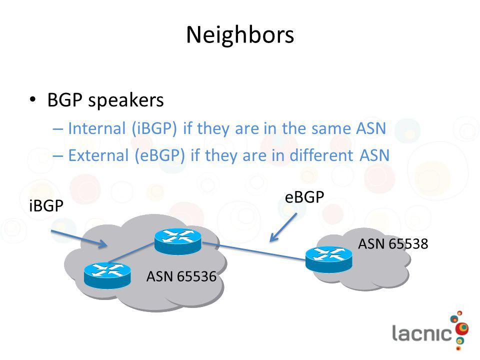 Neighbors BGP speakers Internal (iBGP) if they are in the same ASN