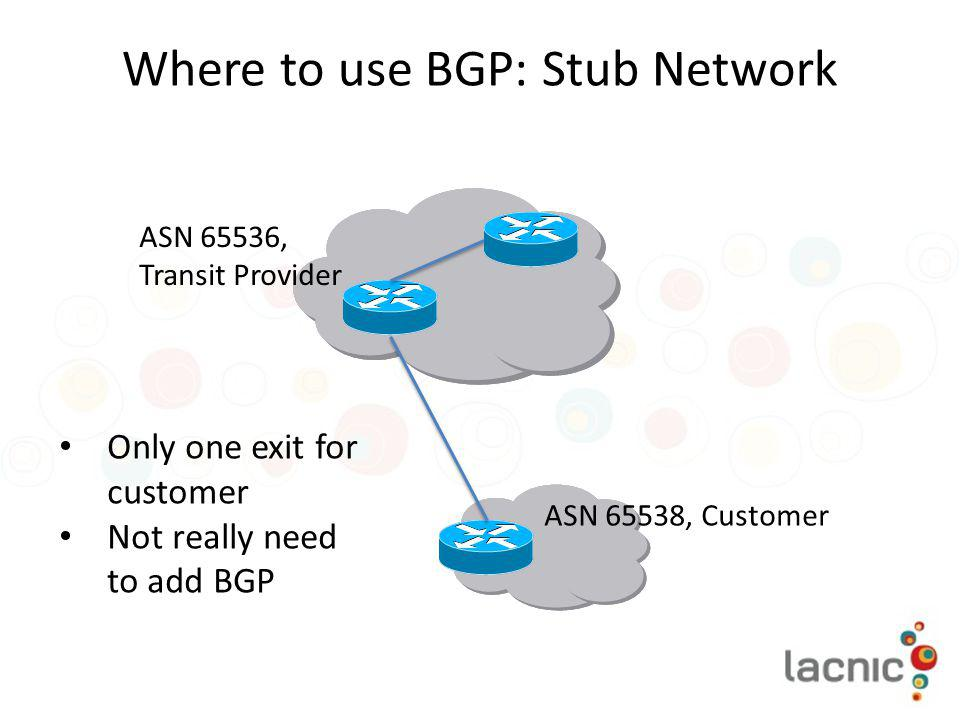 Where to use BGP: Stub Network