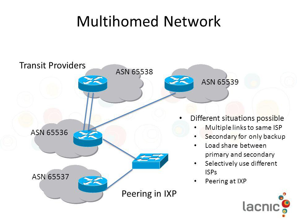Multihomed Network Transit Providers Peering in IXP ASN 65538