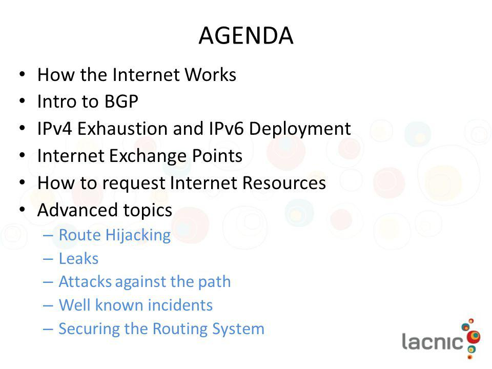 AGENDA How the Internet Works Intro to BGP
