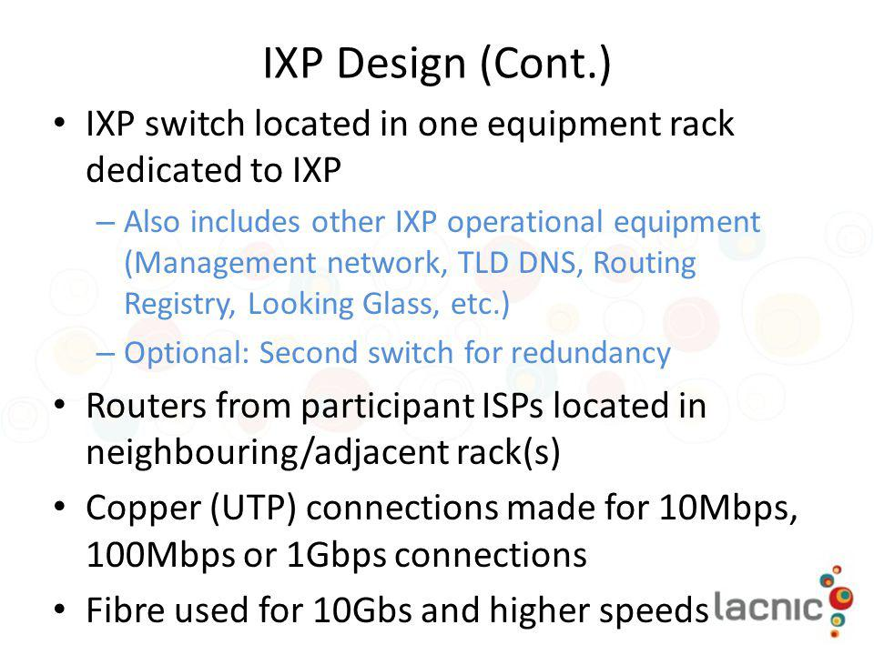 IXP Design (Cont.) IXP switch located in one equipment rack dedicated to IXP.