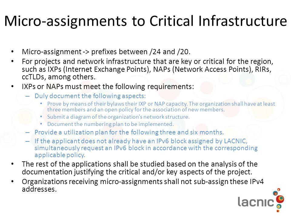 Micro-assignments to Critical Infrastructure