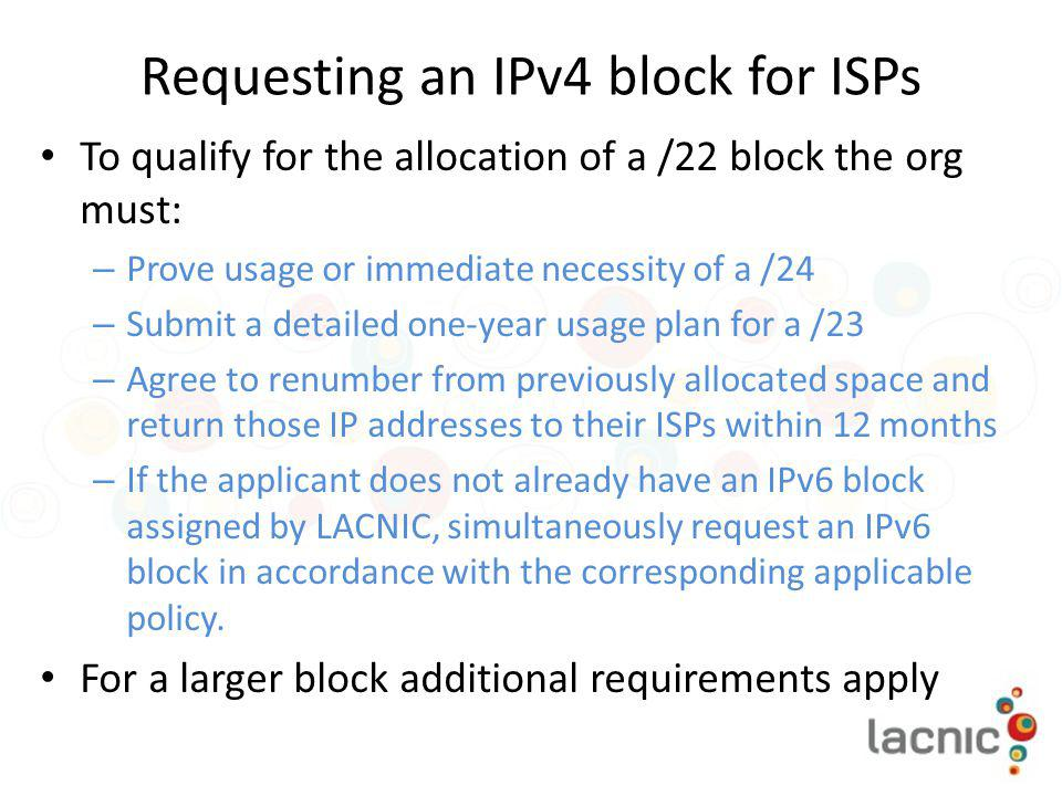 Requesting an IPv4 block for ISPs