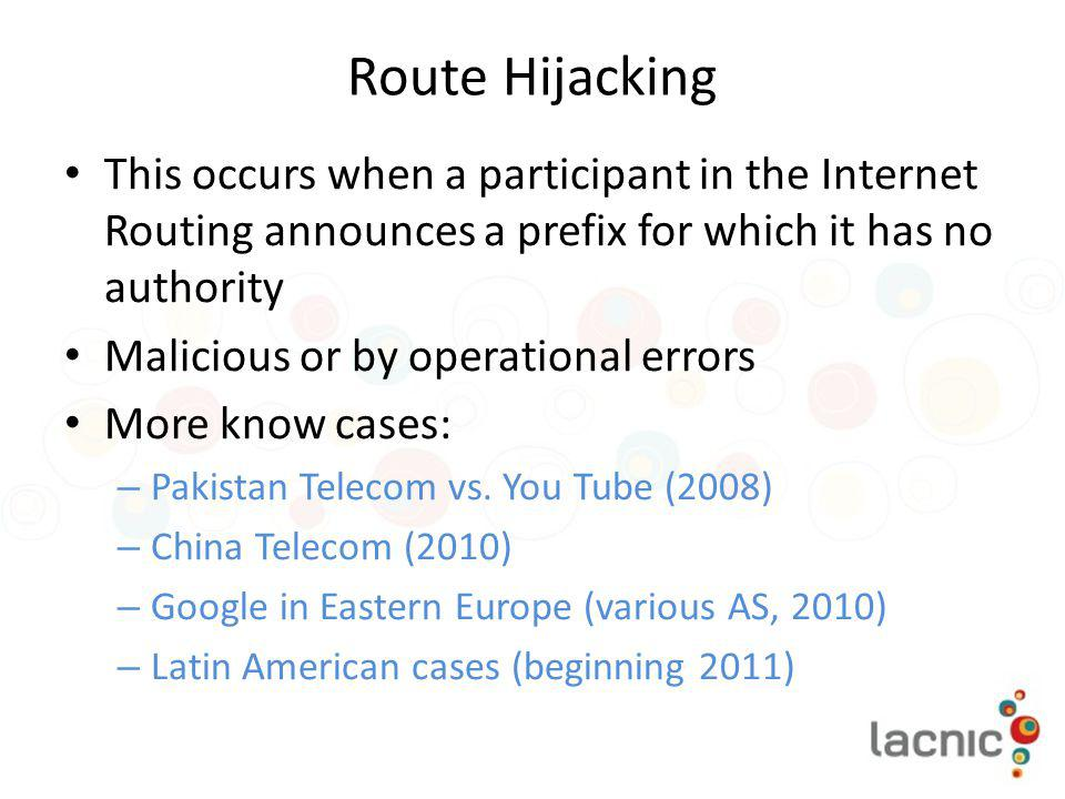 Route Hijacking This occurs when a participant in the Internet Routing announces a prefix for which it has no authority.