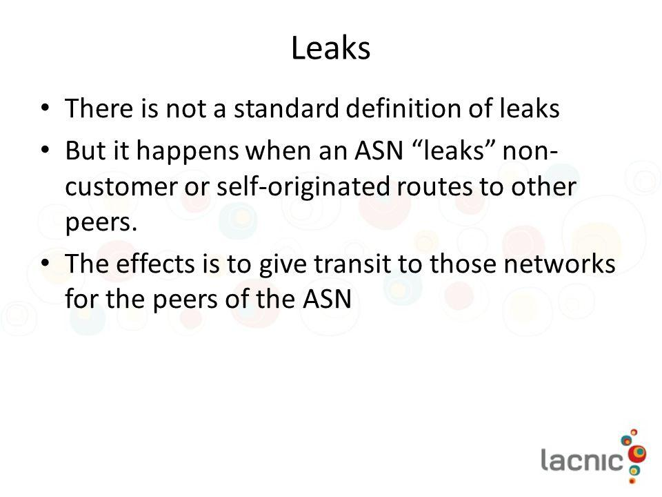 Leaks There is not a standard definition of leaks