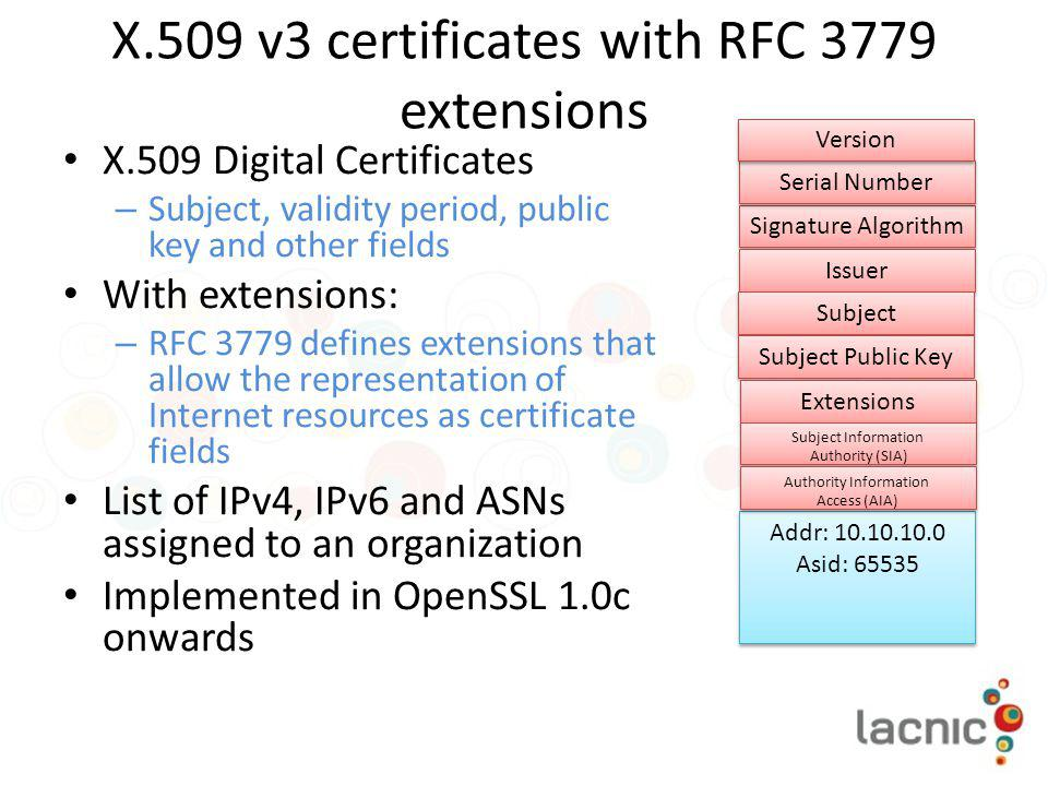 X.509 v3 certificates with RFC 3779 extensions