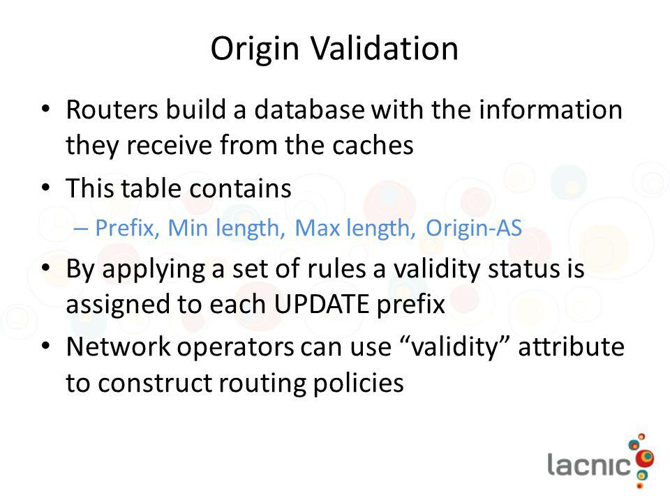 Origin Validation Routers build a database with the information they receive from the caches. This table contains.