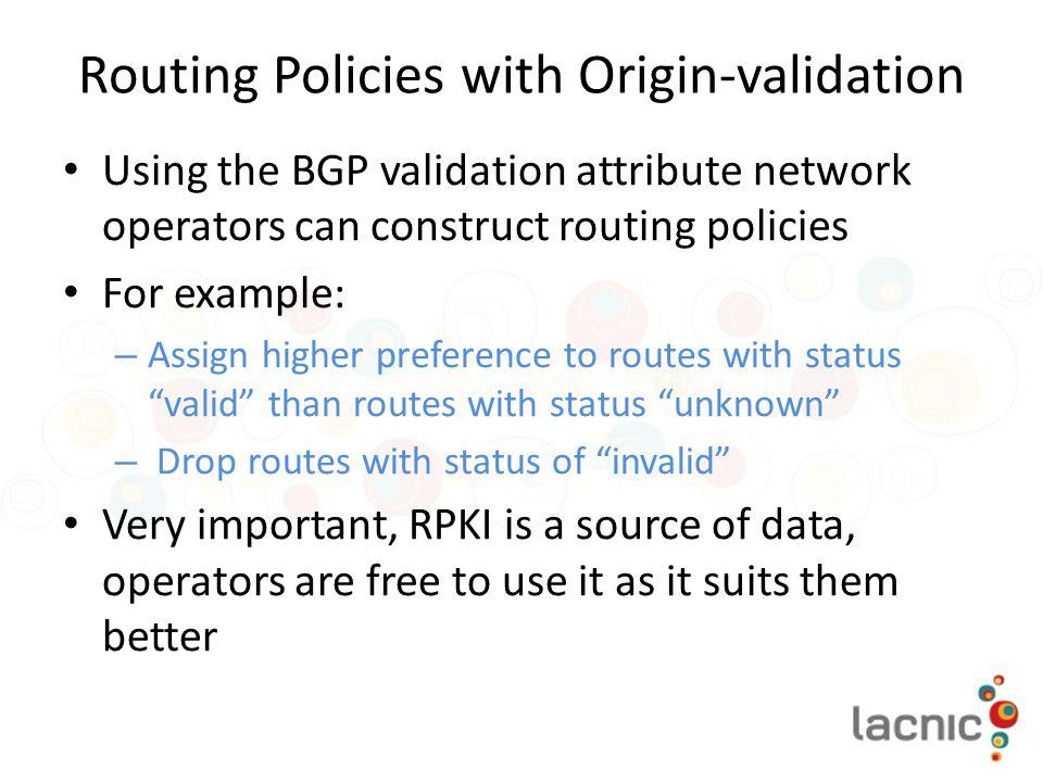 Routing Policies with Origin-validation
