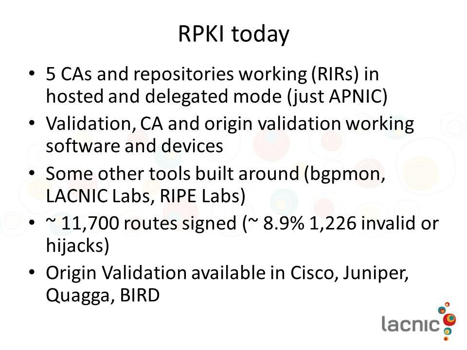 RPKI today 5 CAs and repositories working (RIRs) in hosted and delegated mode (just APNIC)