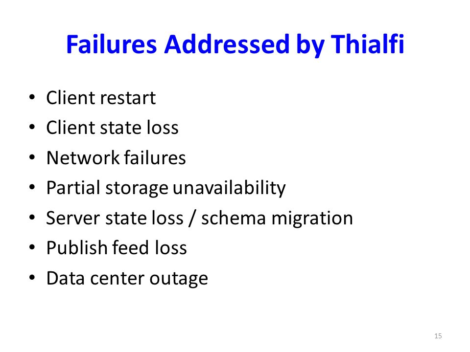 Failures Addressed by Thialfi