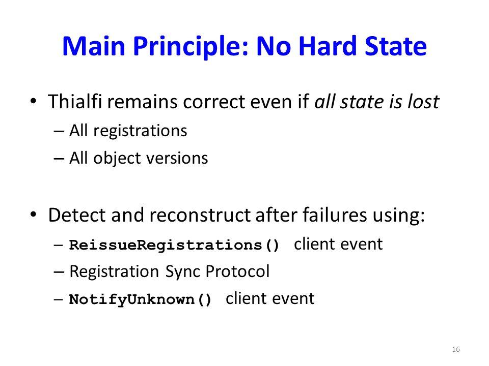 Main Principle: No Hard State