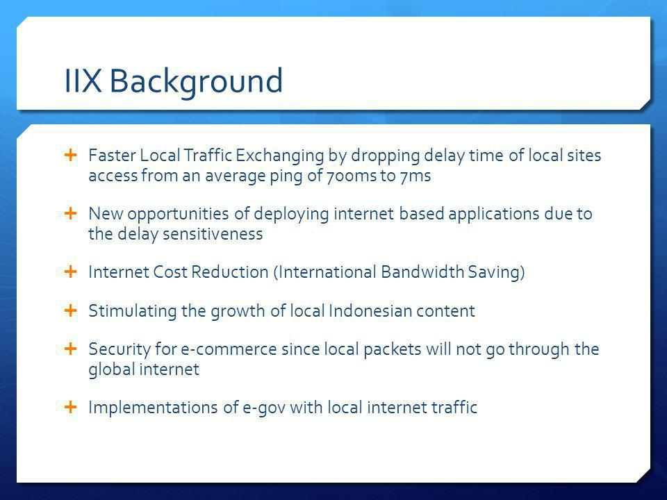 IIX Background Faster Local Traffic Exchanging by dropping delay time of local sites access from an average ping of 700ms to 7ms.