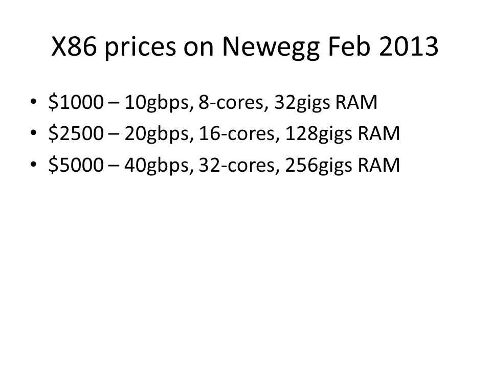 X86 prices on Newegg Feb 2013 $1000 – 10gbps, 8-cores, 32gigs RAM
