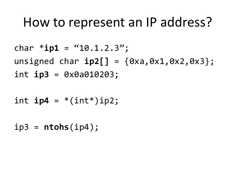 How to represent an IP address