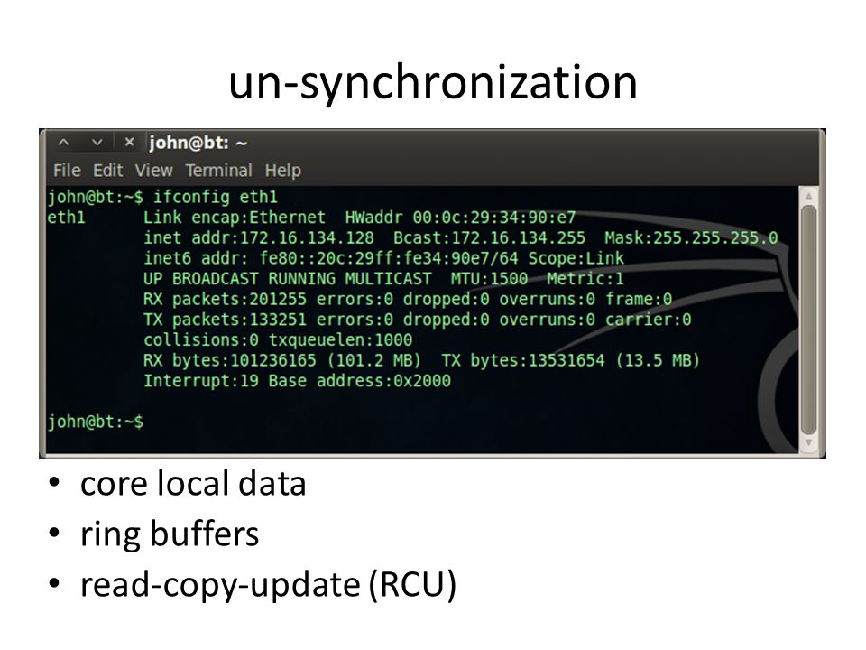 un-synchronization core local data ring buffers read-copy-update (RCU)