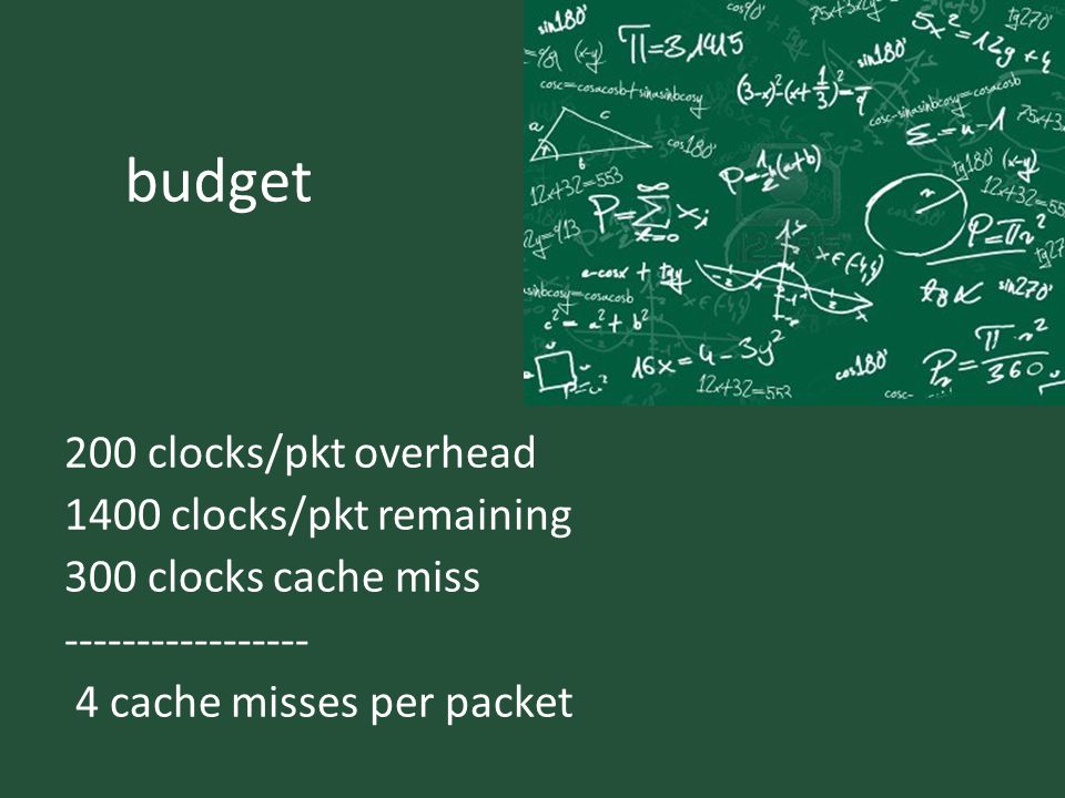 budget 200 clocks/pkt overhead 1400 clocks/pkt remaining 300 clocks cache miss ----------------- 4 cache misses per packet