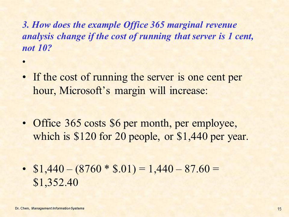 3. How does the example Office 365 marginal revenue analysis change if the cost of running that server is 1 cent, not 10
