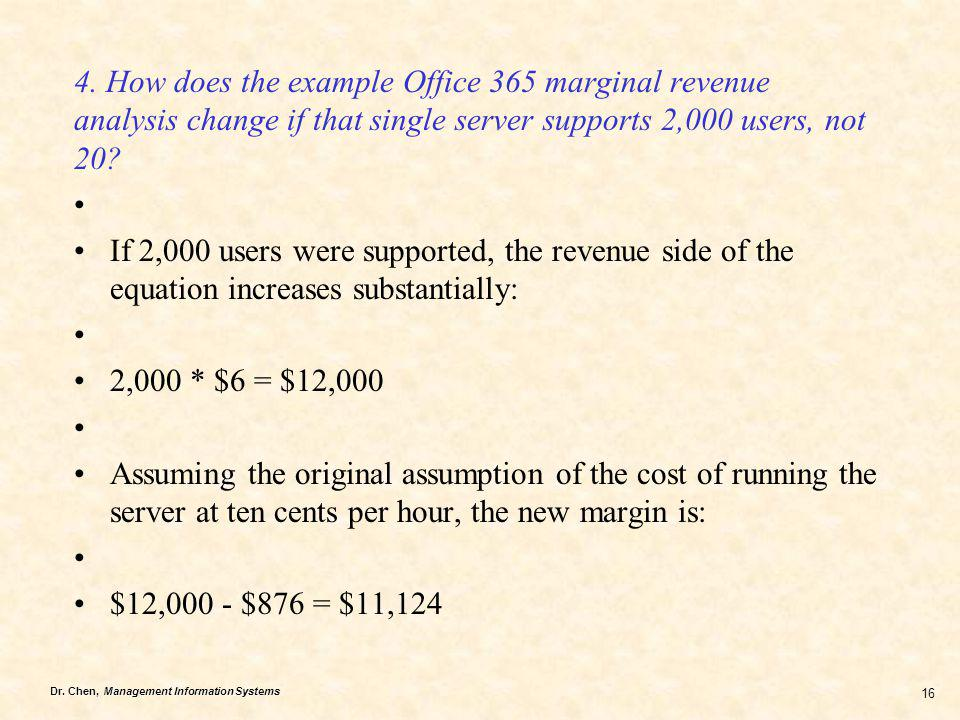 4. How does the example Office 365 marginal revenue analysis change if that single server supports 2,000 users, not 20