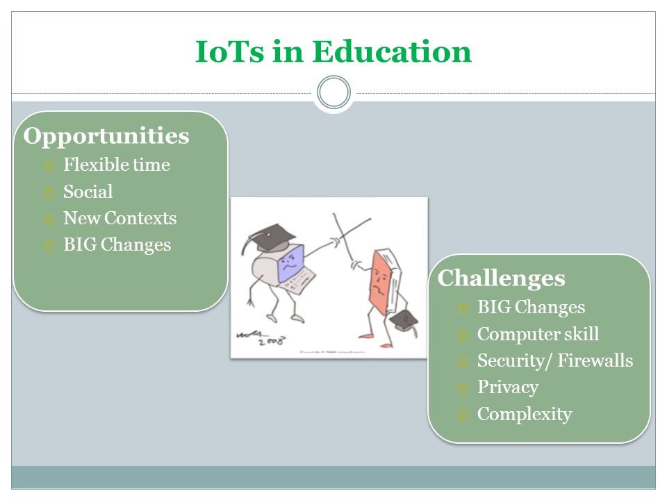 IoTs in Education Opportunities Challenges Flexible time Social