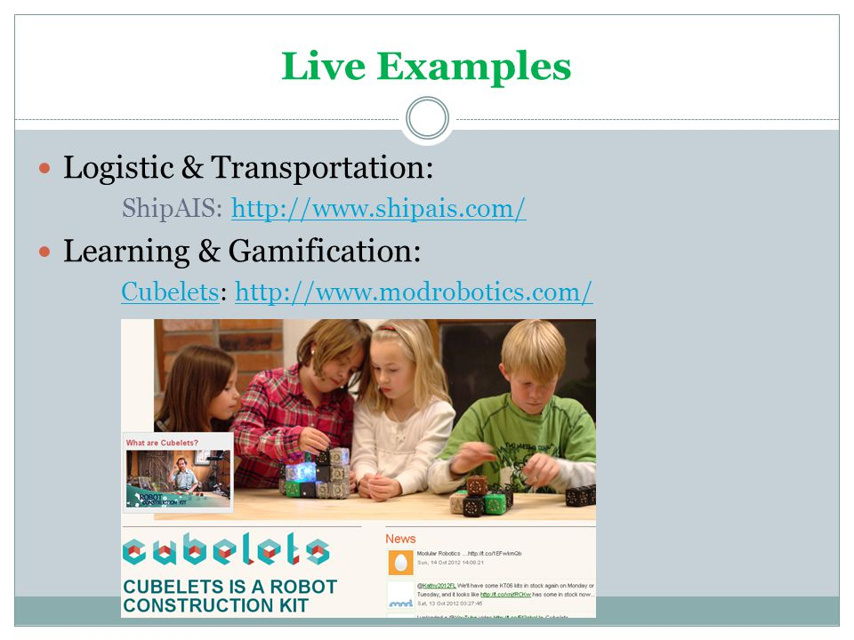 Live Examples Logistic & Transportation: Learning & Gamification: