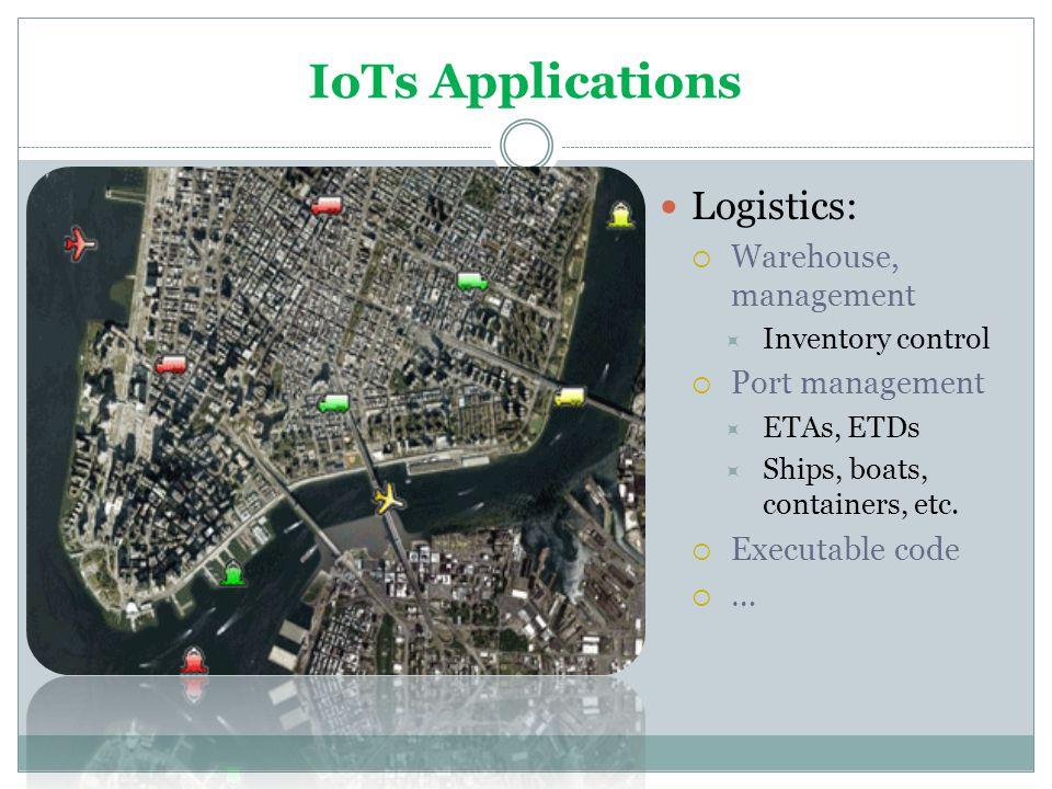 IoTs Applications Logistics: Warehouse, management Port management