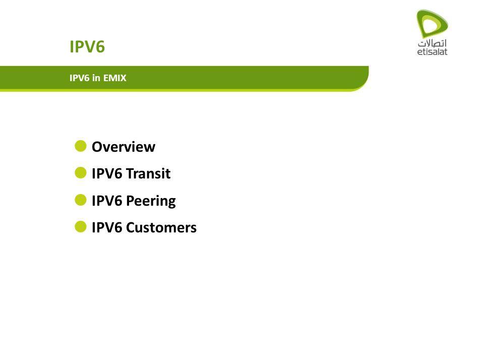 IPV6 IPV6 in EMIX Overview IPV6 Transit IPV6 Peering IPV6 Customers