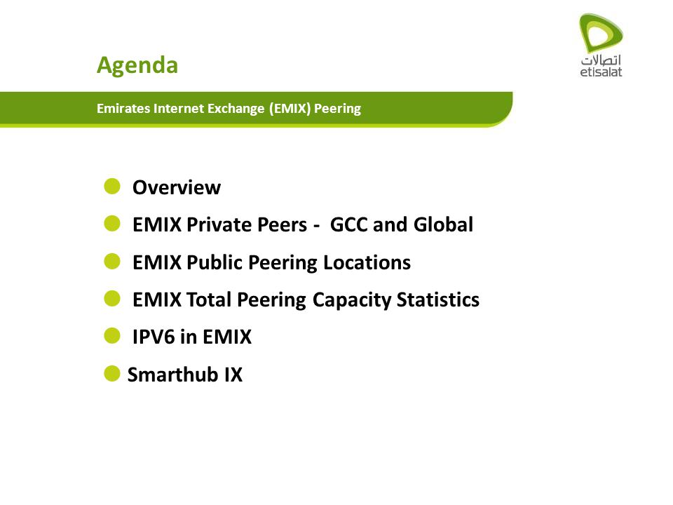 Agenda Overview EMIX Private Peers - GCC and Global