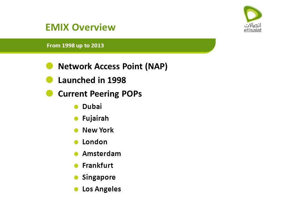 EMIX Overview Network Access Point (NAP) Launched in 1998