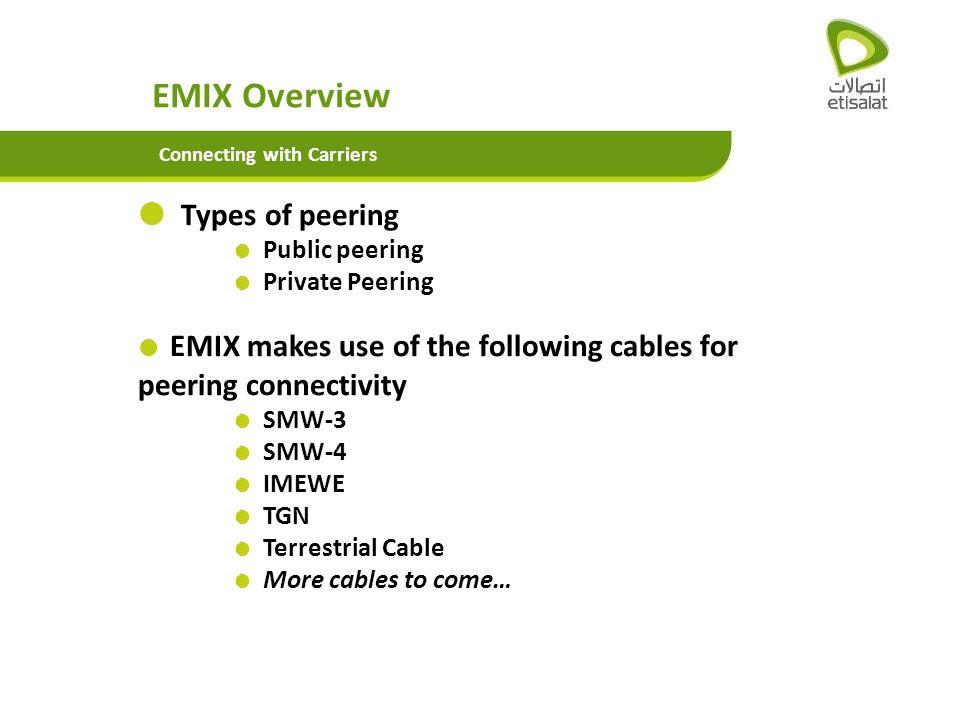EMIX Overview Types of peering Public peering Private Peering SMW-3