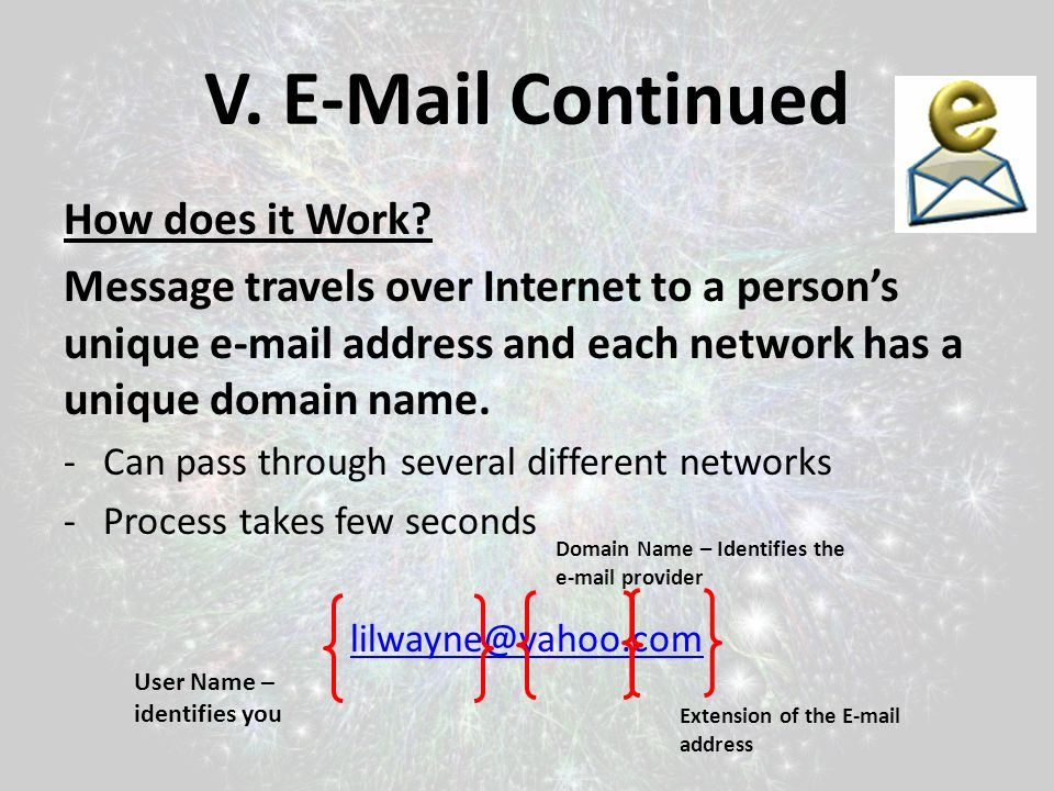 V. E-Mail Continued How does it Work