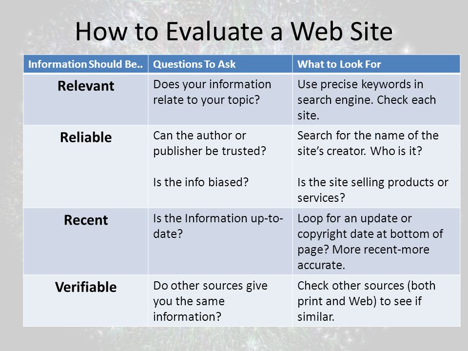 How to Evaluate a Web Site