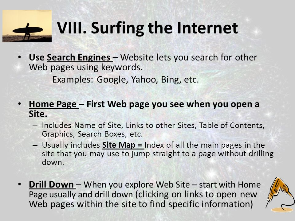 VIII. Surfing the Internet