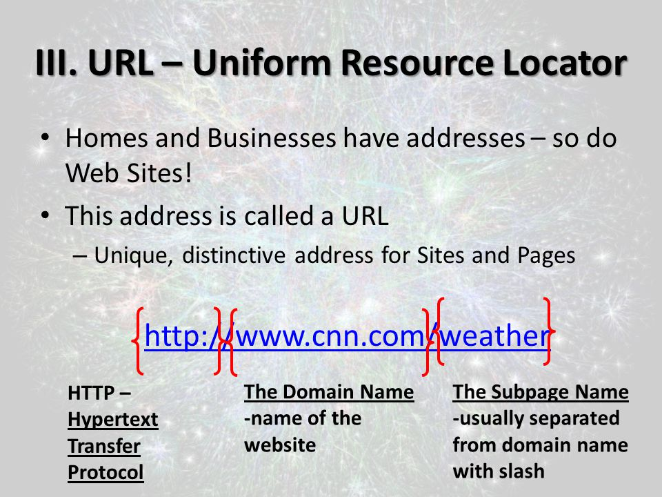 III. URL – Uniform Resource Locator