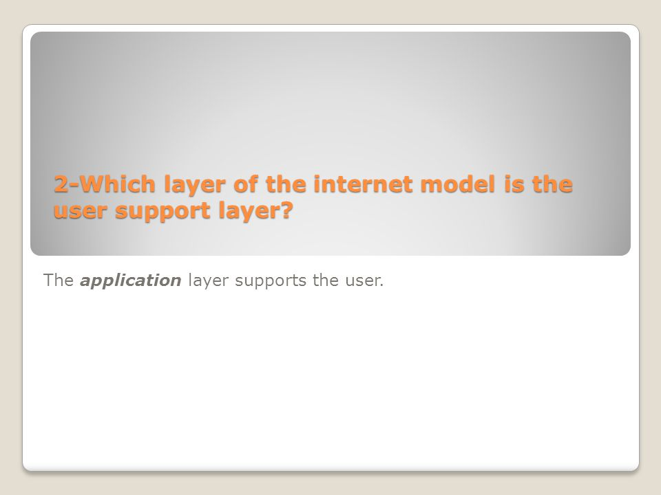 2-Which layer of the internet model is the user support layer